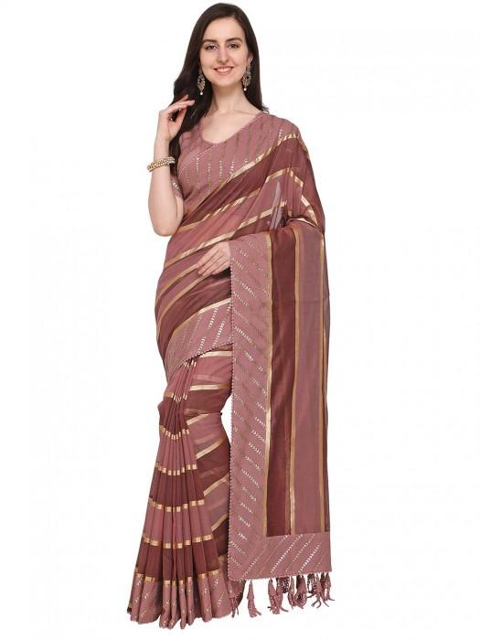 G3 Exclusive Brown Color Cotton Silk Saree