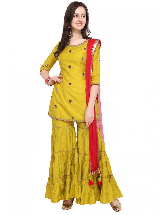 G3 Exclusive Yellow Hue Raw Silk Punjabi Sharara Suit