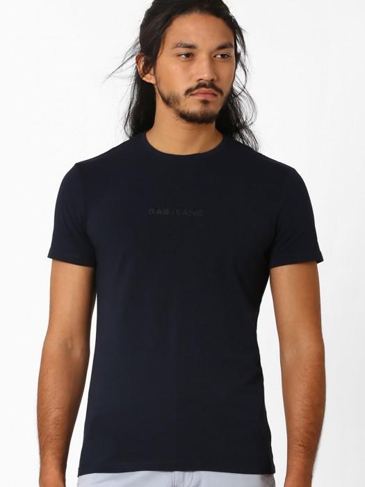 Gas Black Slim Fit Mens Plain Casual Wear Cotton T Shirt