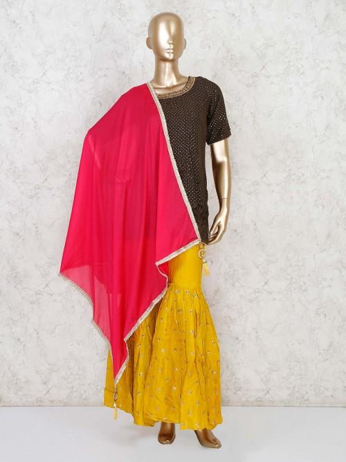 Geogette Brown Festive Function Punjabi Sharara Suit
