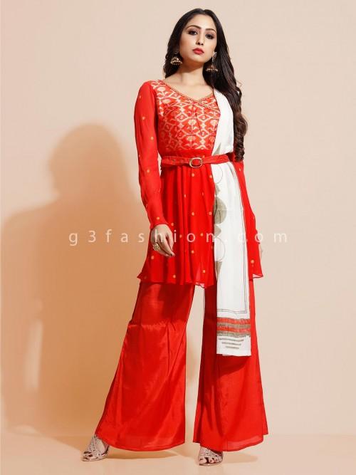 Georget Punjabi Palazzo Suit In Red