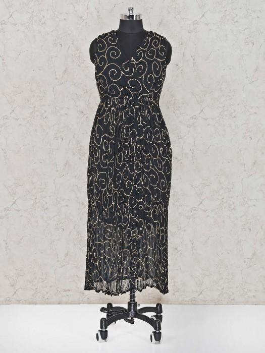 Georgette Black Salwar Suit In Festive