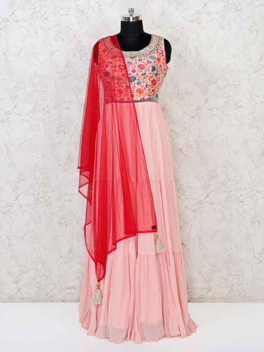 Georgette Festive Floor Length Anarkali Suit In Pink