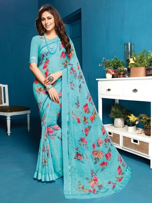 Georgette Festive Printed Sari In Light Blue