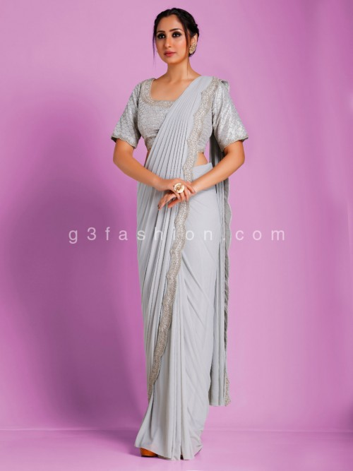 Imported Lycra Designer Light Grey Ready To Wear Exclusive Saree