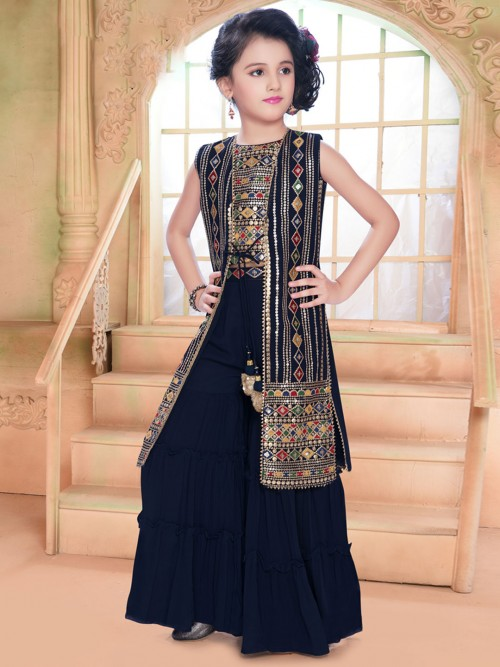 Georgette Navy Festive Punjabi Sharara Suit