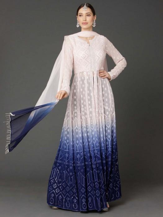Georgette Peach Blue Shaded Anarkali Lehenga Suit
