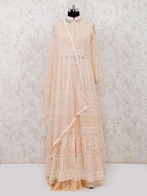 Georgette Peach Designer Lehenga Suit