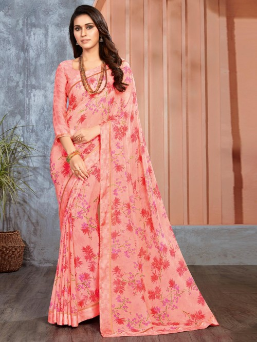 Georgette Peach Printed Saree For Festive