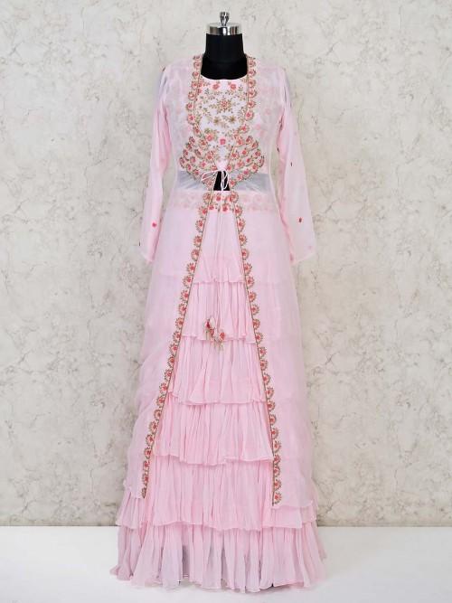 Georgette Pink Wedding Lehenga Choli For Pretty Womens