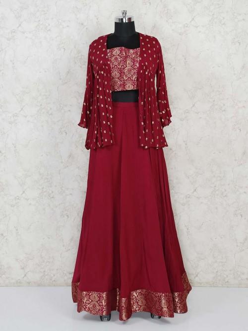 Georgette Wedding Maroon Jacket Style Lehenga Choli