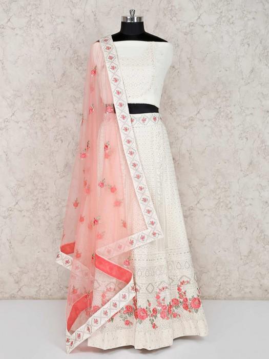 Georgette White Semi Stitched Lehenga Choli In Wedding