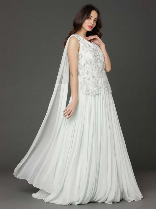 Georgette White Wedding Wear Anarkali Suit