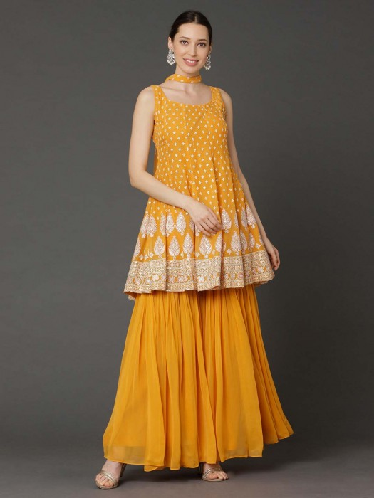 Georgette Yellow U Neck Punjabi Sharara Suit