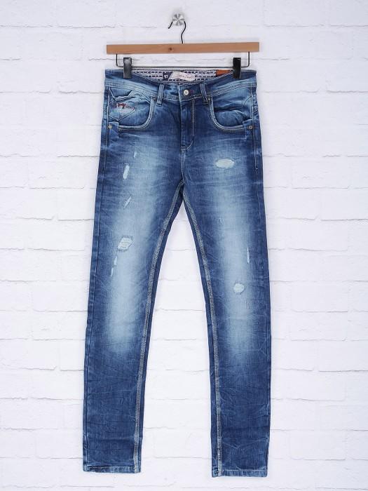Gesture Solid Blue Denim Slim Fit Jeans