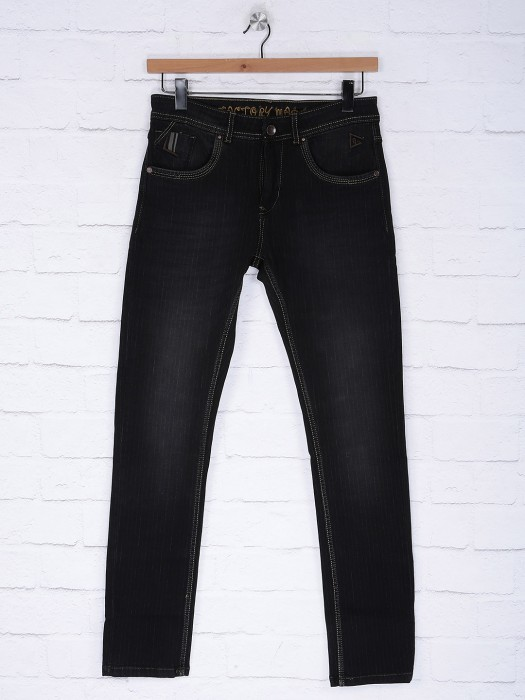 Gesture Solid Denim Black Colored Jeans