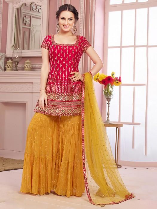 Gharara Salwar Suit In Red