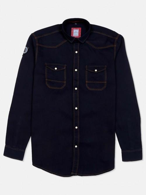 Gianti Denim Navy Solid Shirt