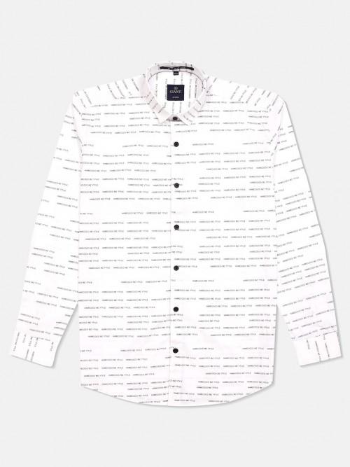 Gianti Full Sleeves White Printed Shirt