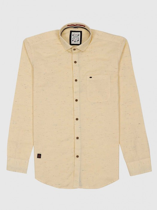 Gianti Lemon Yellow Solid Pattern Shirt