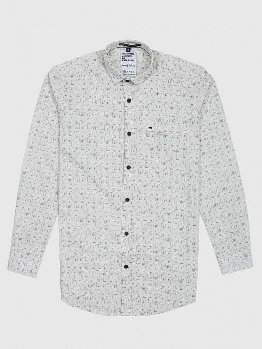 Gianti Presenred Cream Printed Mens Shirt