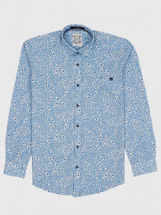 Gianti Sky Blue Floral Printed Shirt