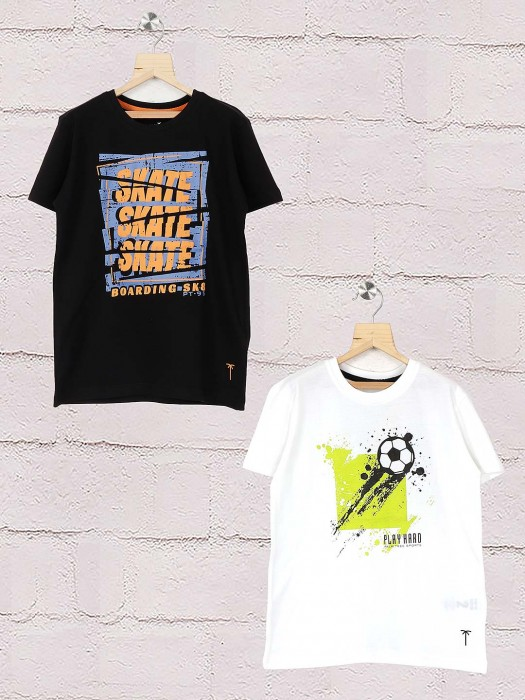 Gini And Jony Black And White Printed Pack Of 2 T-shirt