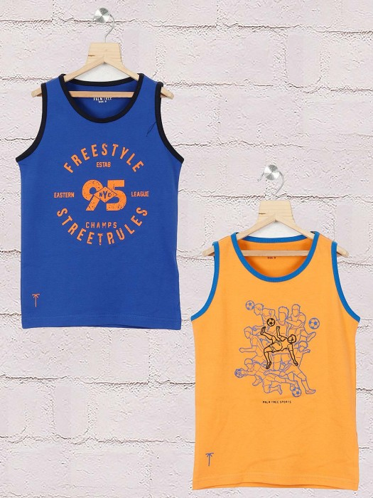 Gini And Jony Royal Blue And Orange Pack Of 2 T-shirt