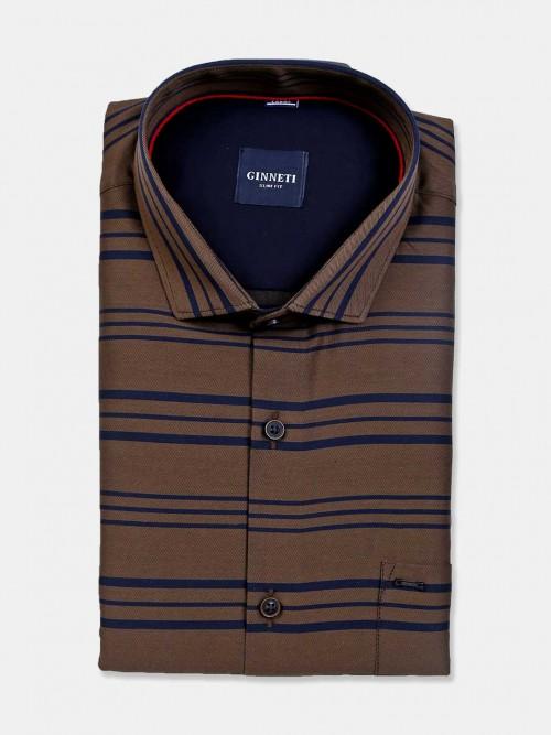 Ginneti Brown Cotton Stripe Formal Shirt