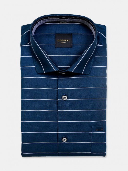 Ginneti Cut Away Collar Green Stripe Shirt