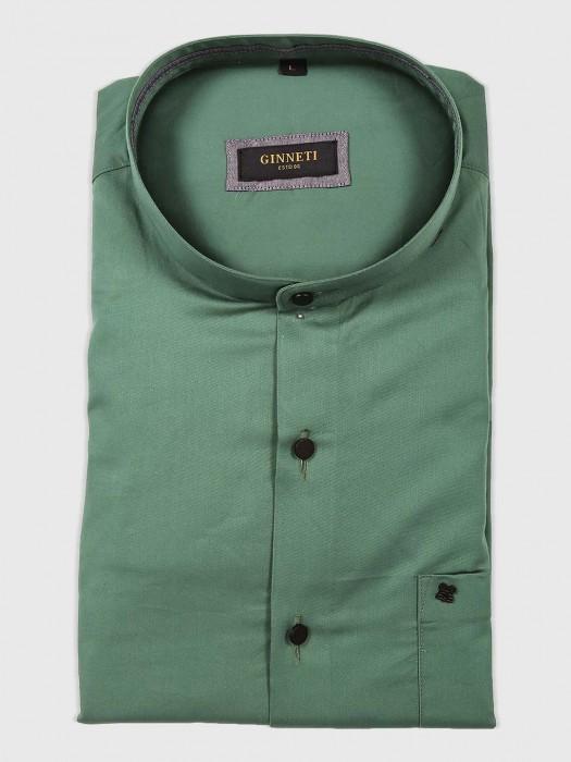 Ginneti Green Solid Cotton Shirt