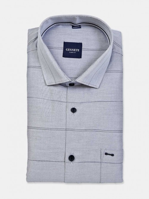 Ginneti Grey Cotton Stripe Shirt