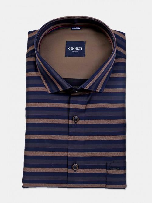 Ginneti Navy Cotton Stripe Shirt