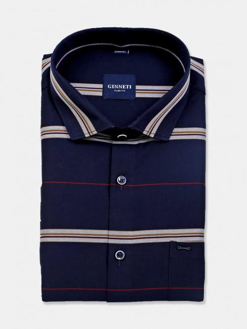 Ginneti Navy Stripe Cotton Mens Shirt