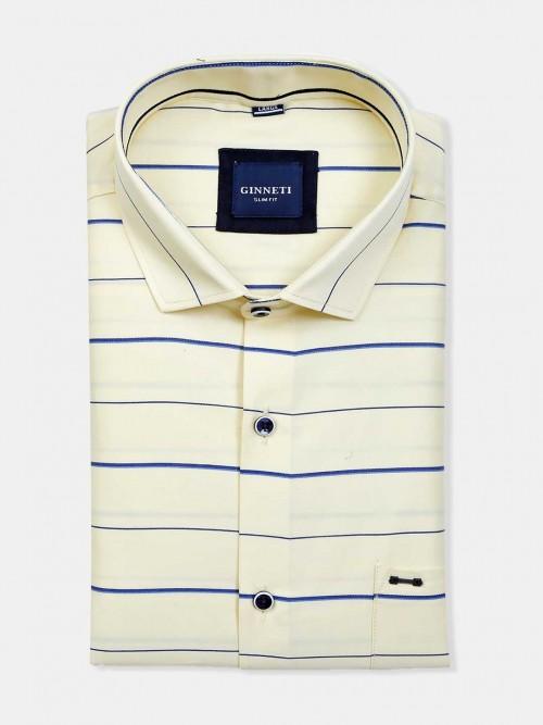 Ginneti Patch Pocket Cream Stripe Cotton Shirt