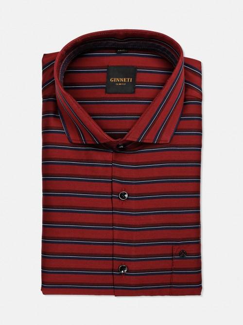 Ginneti Patch Pocket Red Stripe Cotton Shirt