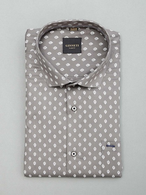Ginneti Printed Grey Mens Shirt