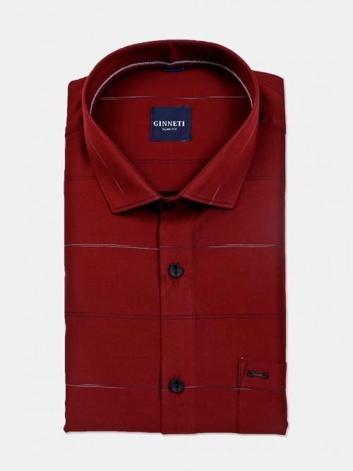 Ginneti Stripe Slim Fit Maroon Cotton Shirt