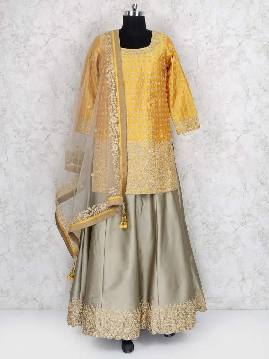 Gold Colored Designer Lehenga Cum Punjabi Suit
