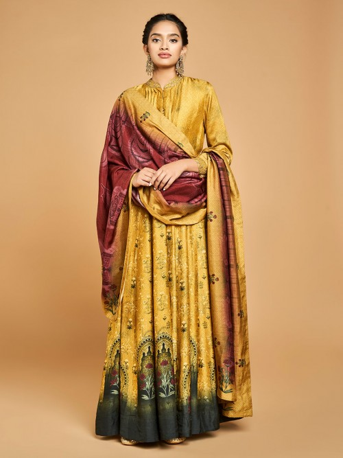 Gold Cotton Silk Anarkali Suit Design In Cotton Silk