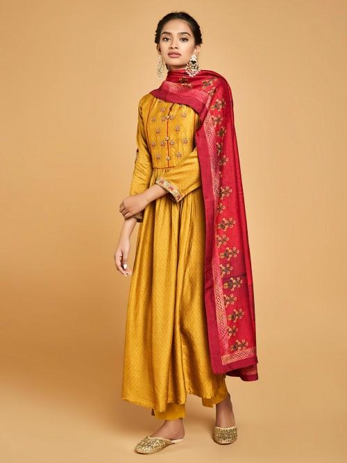 Gold Cotton Silk Printed Floor Length Anarkali Salwar Suit