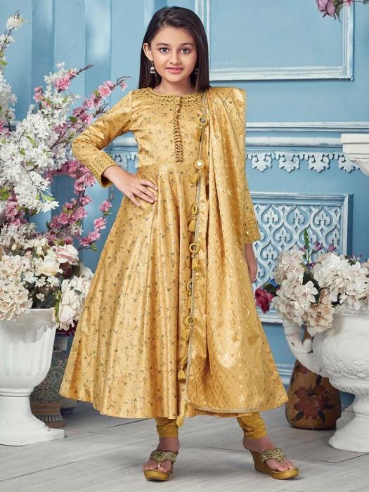 Gold Wedding Wear Printed Anarkali Suit