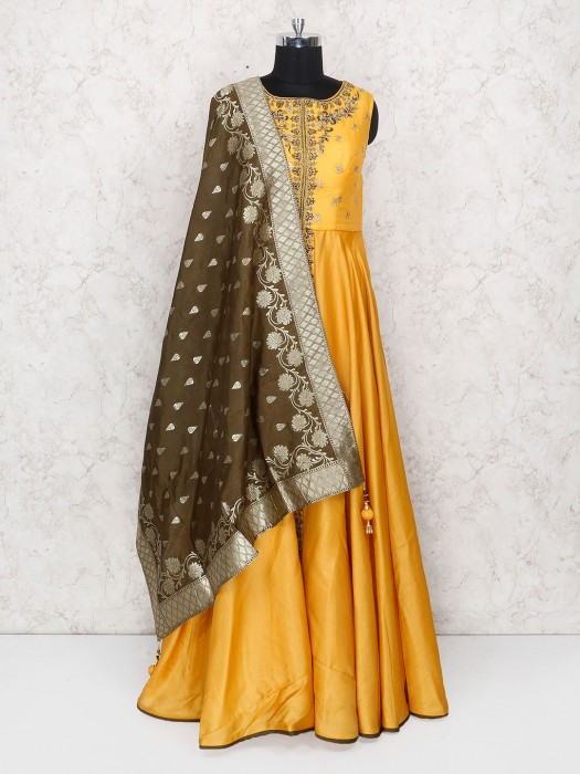 Golden Hue Floor Length Anarkali Suit In Cotton Silk