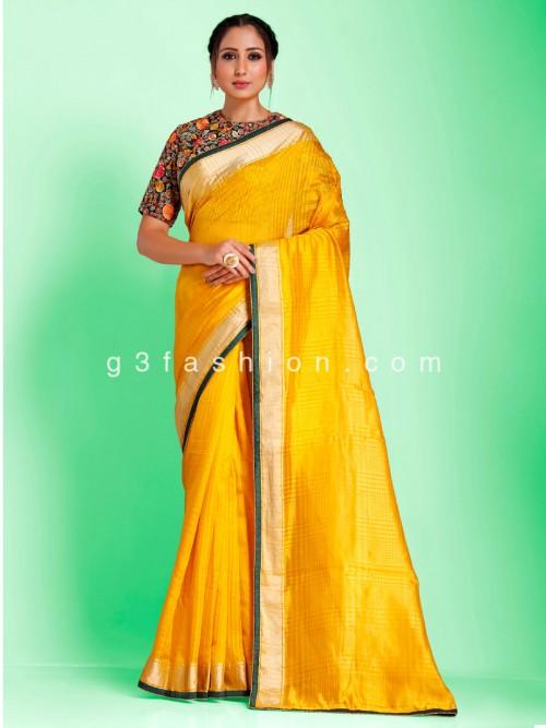 Golden Yellow Chanderi Tussar Silk Saree With Readymade Blouse