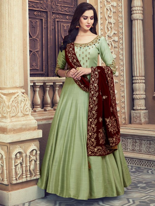 Gorgeous Green Cotton Silk Floor Length Anarkali Salwar Suit