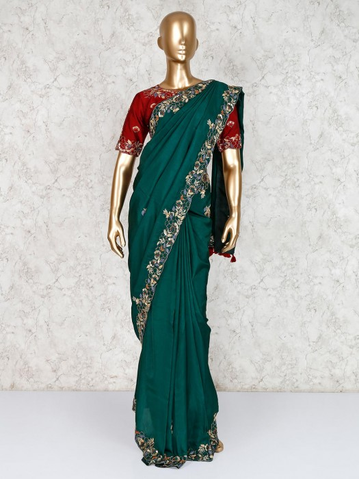 Gorgeous Green Embroidered Saree With Ready Made Blouse