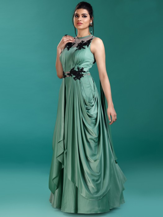 Gorgeous Green Hue Gown In Satin