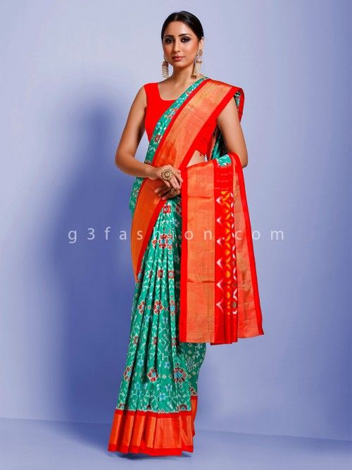 Sea Green Designer Geometric Hydrabadi Patola Ikkat Silk Sari