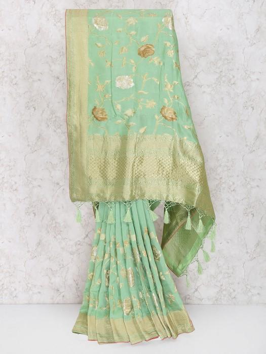 Gorgeous Green Saree In Muga Silk