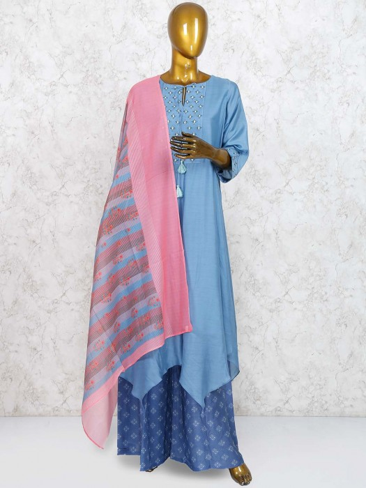Gorgeous Grey Cotton Silk Punjabi Sharara Suit